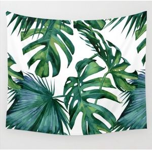Palm Leaves Tropical Jungle Green Wall Tapestry